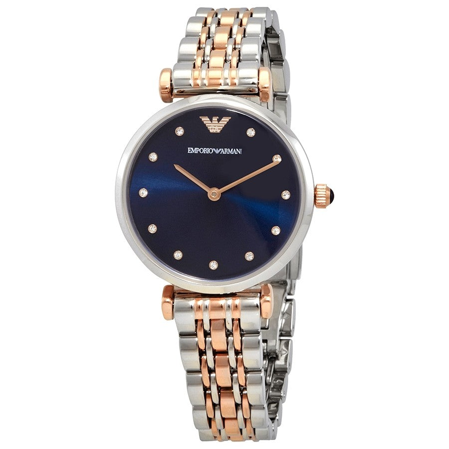 Emporio Armani Quartz Crystal Blue Dial Ladies Watch AR11092