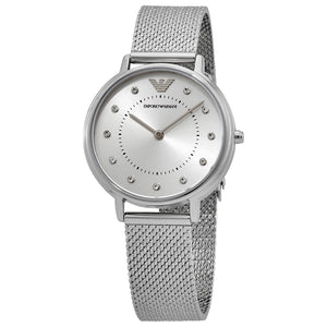 Emporio Armani Quartz Crystal Silver Dial Ladies Watch AR11128