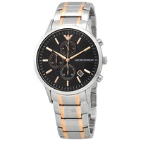 Emporio Armani Chronograph Black Dial Two-Tone Men's Watch AR11165