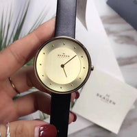 Skagen Ditte Gold Dial Black Leather Ladies Watch SKW2262