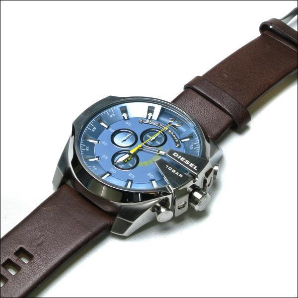 Diesel Mega Chief DZ4281 316L silver-tone stainless steel & genuine leather strap 50ATM (50m) water resistant Japan movements with a chronograph and date function