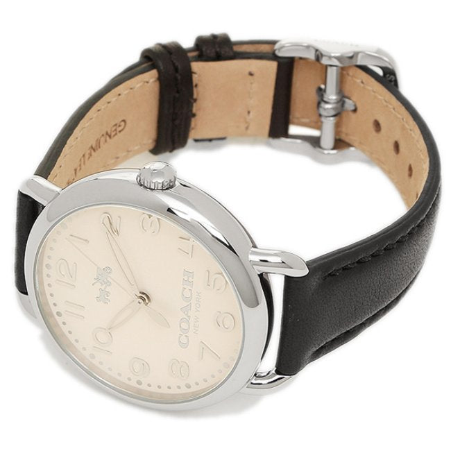 Coach Delancey White Dial Black Leather Strap Ladies Watch 14502267