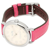 Coach Delancey Silver Dial Pink Leather Strap Ladies Watch 14502560