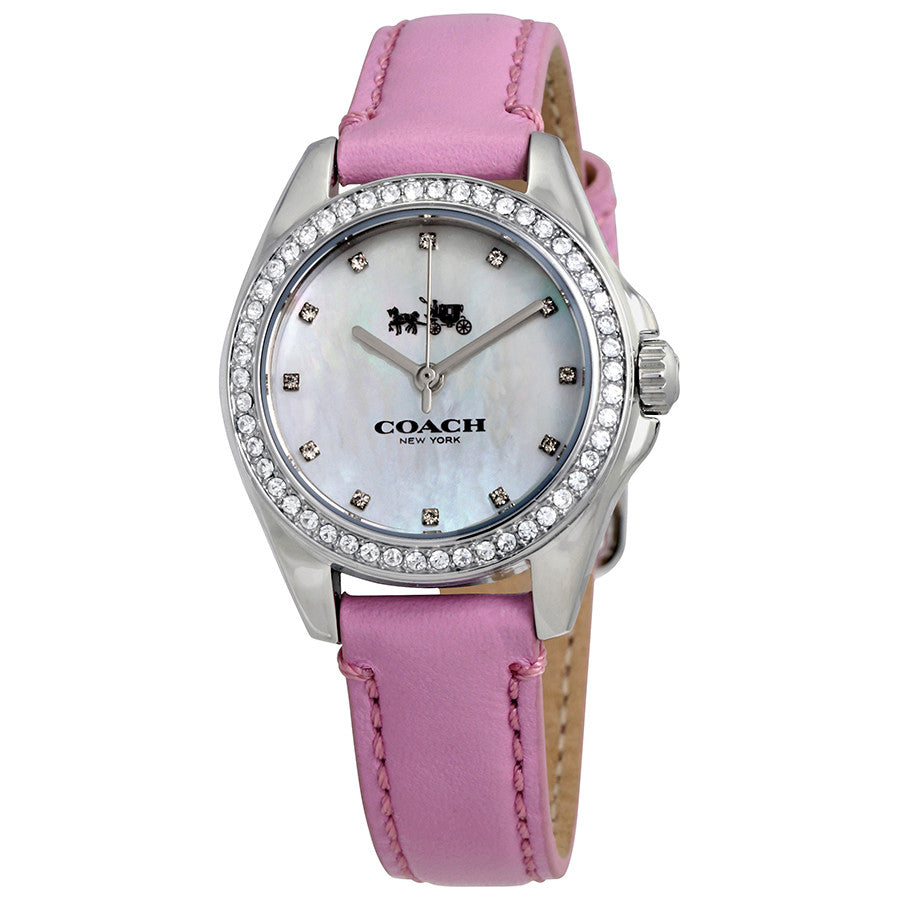 Coach Silver Dial Pink Leather Strap Ladies Watch 14502313