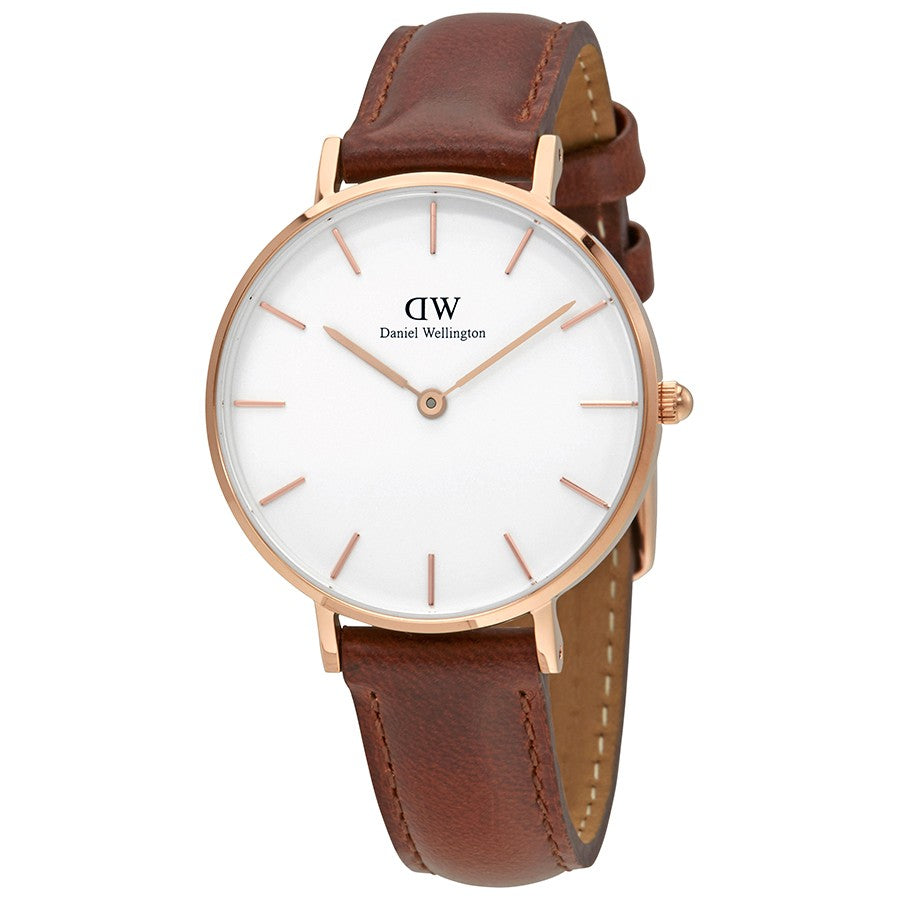 Daniel Wellington White Classic Petite St Mawes 28mm Women's Gold Watch DW00100175 - Big Daddy Watches