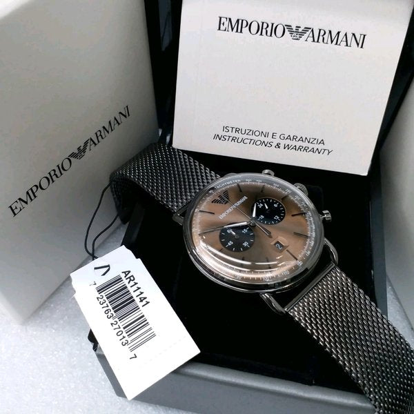 Emporio Armani Aviator Chronograph Brown Dial Men's Watch AR11141 Water resistance: 50 meters / 165 feet Movement: Quartz