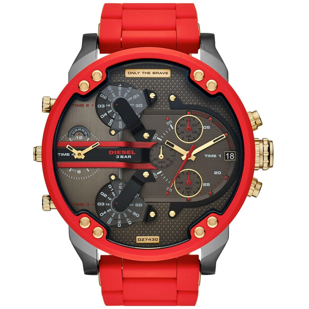 Diesel Big Daddy DZ7430 316L stainless steel and red silicone strap 4 Time zones 30m water resistant