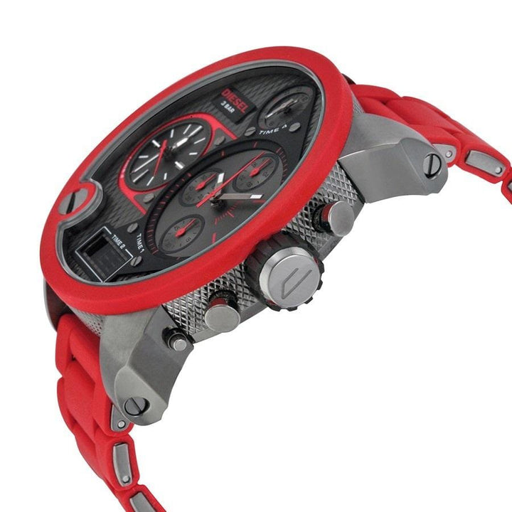 Diesel Big Daddy DZ7279 316L gunmetal stainless steel & red silicone link cover 30m water resistant 4 Time zones