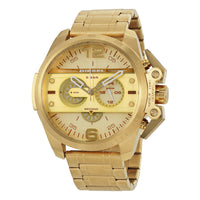 Diesel Ironside Men's Watch DZ4361 316L Gold ion-plated stainless steel & Gold strap 5ATM (50m) water resistant Japan movements with a chronograph and date function