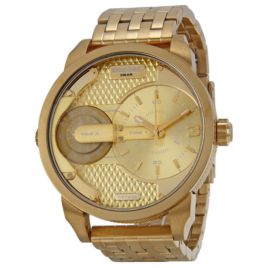 Diesel Mini Daddy DZ7306 316L gold stainless steel 3ATM (30m) water resistant Dual time zones (GMT)
