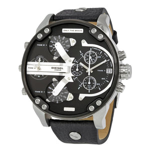 Diesel Big Daddy DZ7313 316L silver stainless steel & genuine leather strap 30m water resistant 4 time zones