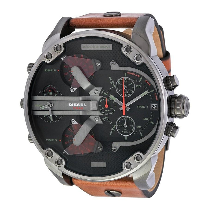 Diesel Big Daddy DZ7332 316L gunmetal stainless steel & genuine leather strap 30m water-resistant 4 Time zones