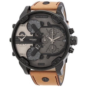 Diesel Big Daddy DZ7406 316L black stainless steel with genuine leather strap 30m water-resistant