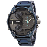 Diesel Big Daddy DZ7414 316L blue stainless steel 4 time zones 30m water resistant