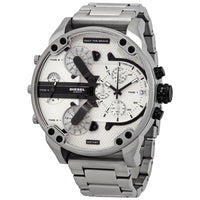 Diesel Big Daddy DZ7421 316L silver-tone stainless steel 30m water-resistant 4 time zones