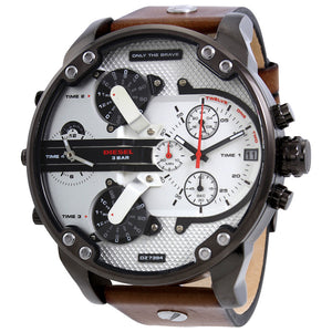 Diesel Big Daddy 2.0 DZ7394 316L gunmetal stainless steel & genuine leather strap 3ATM (30m) water resistant 4 Time zones (GMT)