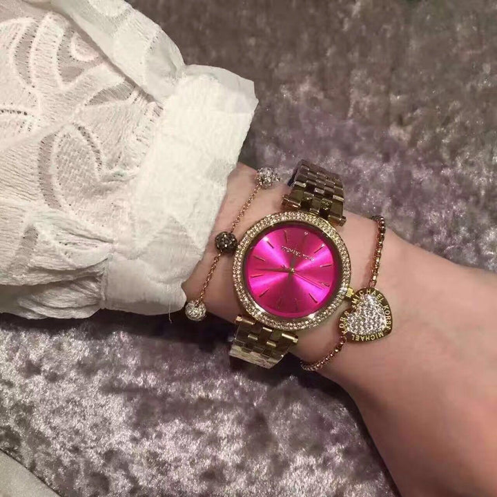 Michael Kors Darci Fuchsia Dial Gold-tone Ladies Watch MK3444