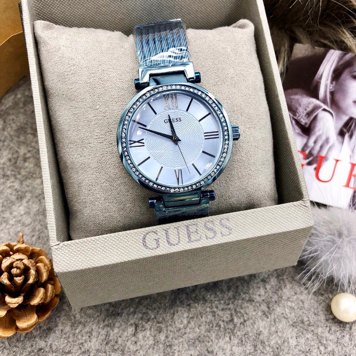 Guess Crystal Blue Dial PVD Stainless Steel Ladies Watch W0638L3