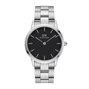 Daniel Wellington Men's Watch Black Iconic Link 36mm Silver DW00100204