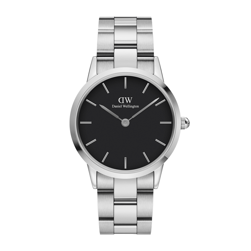 Daniel Wellington Black Iconic Link 28mm Ladies Silver Watch DW00100208