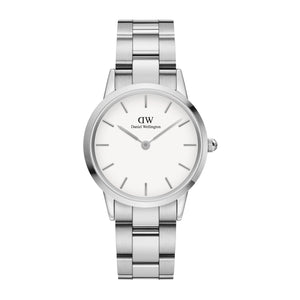 Daniel Wellington White Iconic Link 32mm Ladies Silver Watch DW00100205