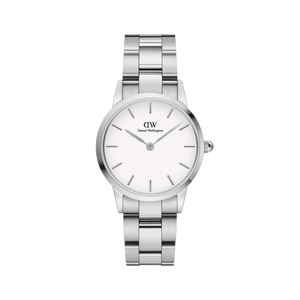 Daniel Wellington White Iconic Link 28mm Ladies Silver Watch DW00100207