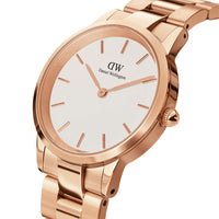 Daniel Wellington White Iconic Link 28mm Ladies Gold Watch DW00100213