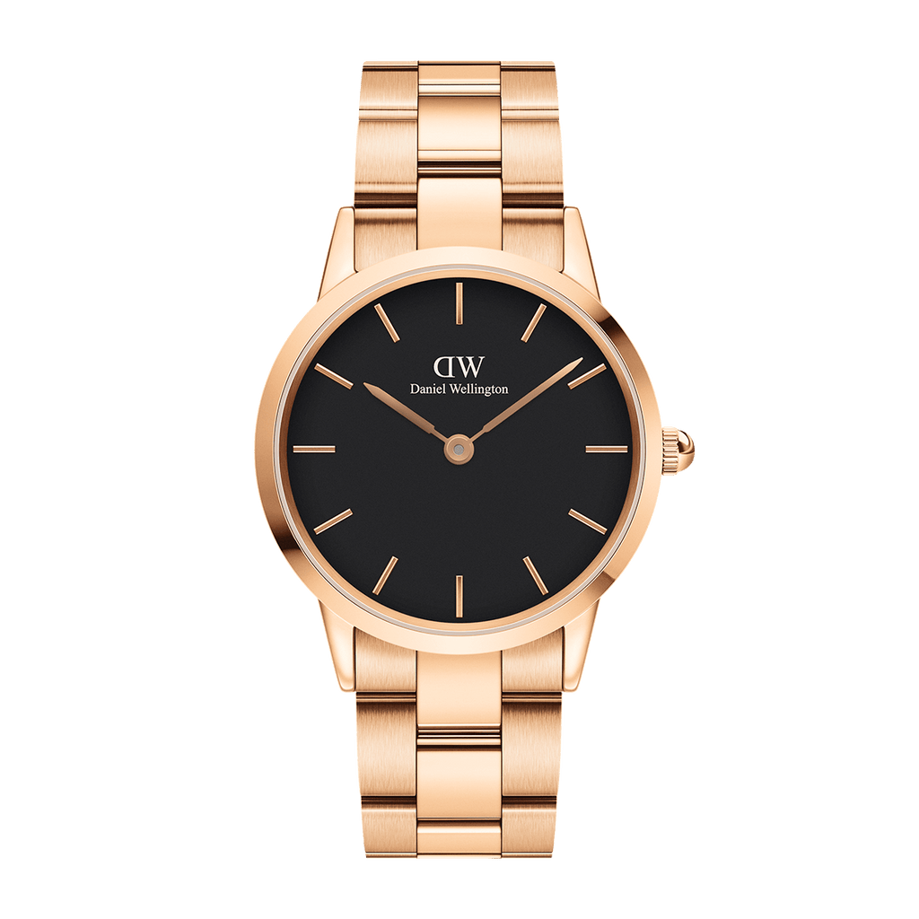 Daniel Wellington Men's Watch Black Iconic Link 36mm Gold DW00100210