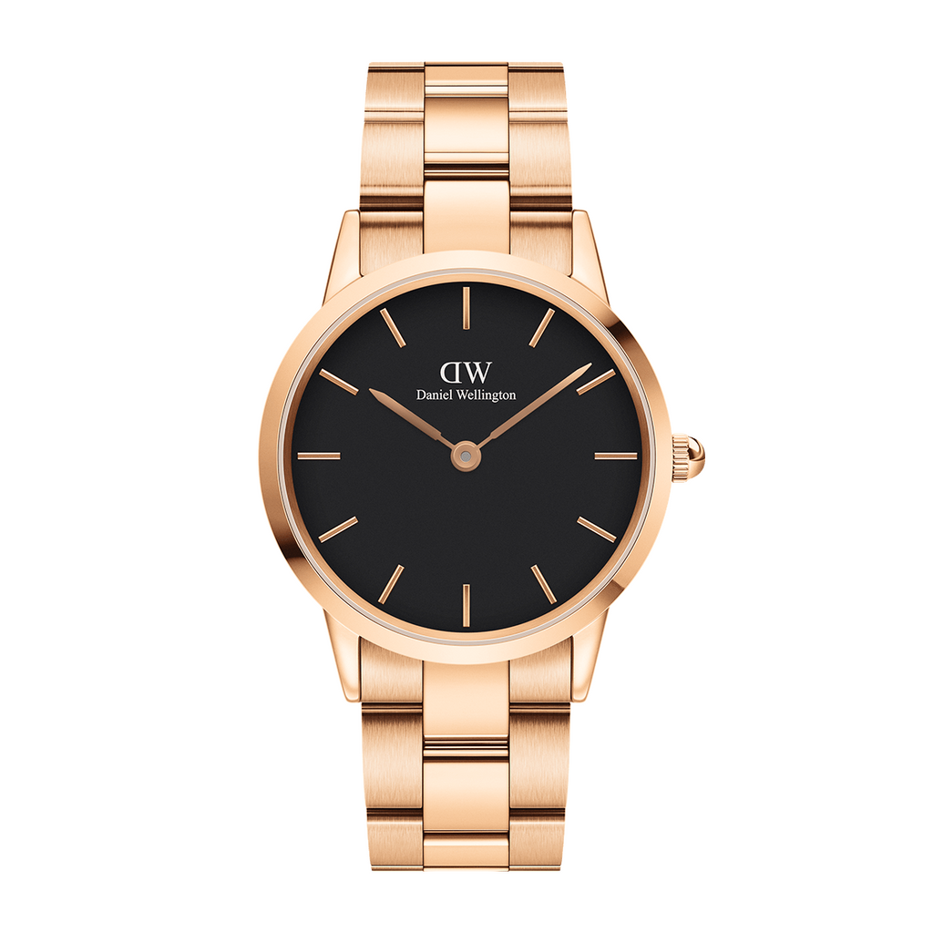 Daniel Wellington Black Iconic Link 28mm Ladies Gold Watch DW00100214