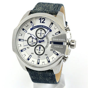 Diesel Mega Chief DZ4511 316L stainless steel & denim strap 10 ATM (100 meters) water resistant Japan movements with a chronograph and date function