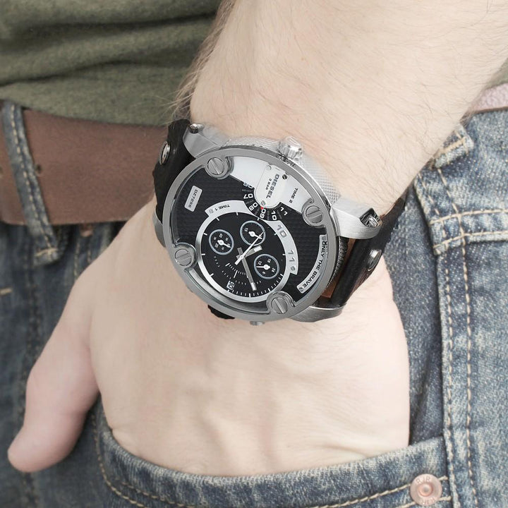 Diesel Little Daddy DZ7256 316L grey stainless steel & genuine leather strap 3ATM (30m) water resistant Japan movements with a chronograph and date function