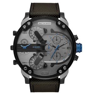 Diesel Big Daddy 2.0 DZ7420 316L gunmetal stainless steel & silicone strap 3ATM (30m) water resistant 4 Time zones (GMT)