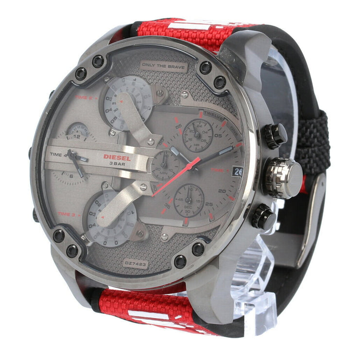 Diesel Big Daddy DZ7423 316L gunmetal stainless steel & silicone strap 3ATM (30m) water resistant 4 Time zones (GMT)