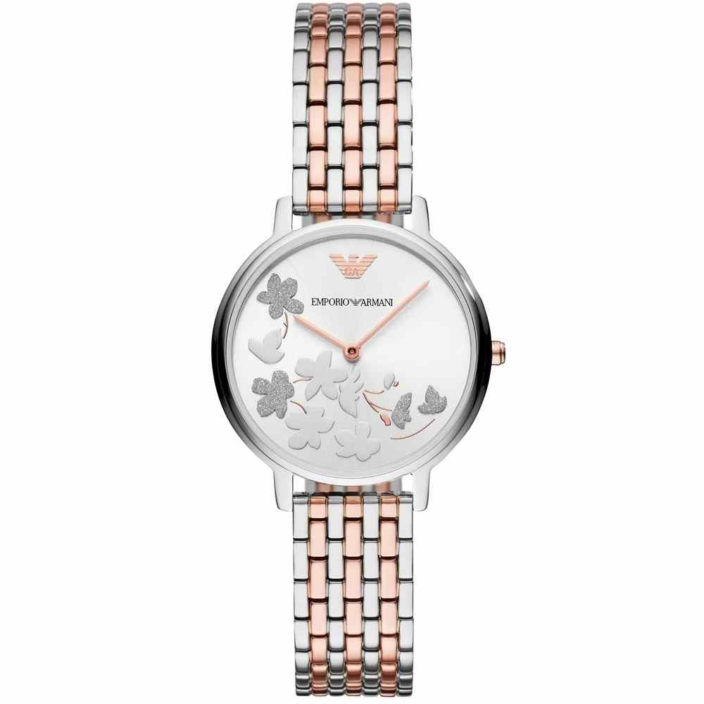 Emporio Armani Silver Sunray Dial Two-Tone Ladies Watch AR11113