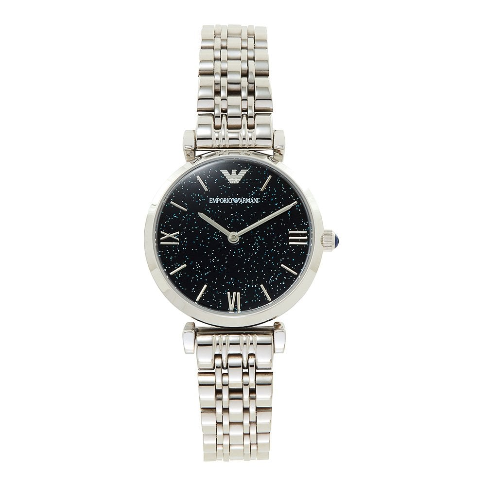 Emporio Armani Dark Blue Dial Stainless Steel Ladies Watch AR11091