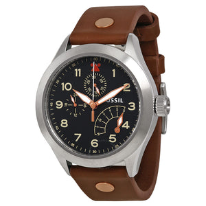 Fossil Aeroflite Multi-Function Black Dial Leather Strap Men's Watch CH2939