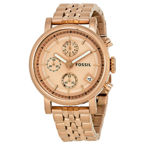 Fossil Boyfriend Chronograph Rose Gold-tone Dial Ladies Watch ES3380