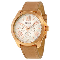 Fossil Cecile Multi-Function White Dial Beige Leather Ladies Watch AM4532