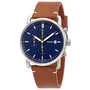 Fossil Commuter Blue Dial Brown Leather Men's Watch FS5401