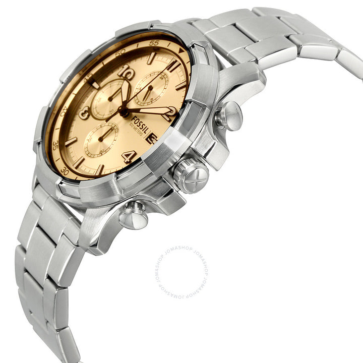 Fossil Dean Chronograph Beige Dial Stainless Steel Men's Watch FS5163