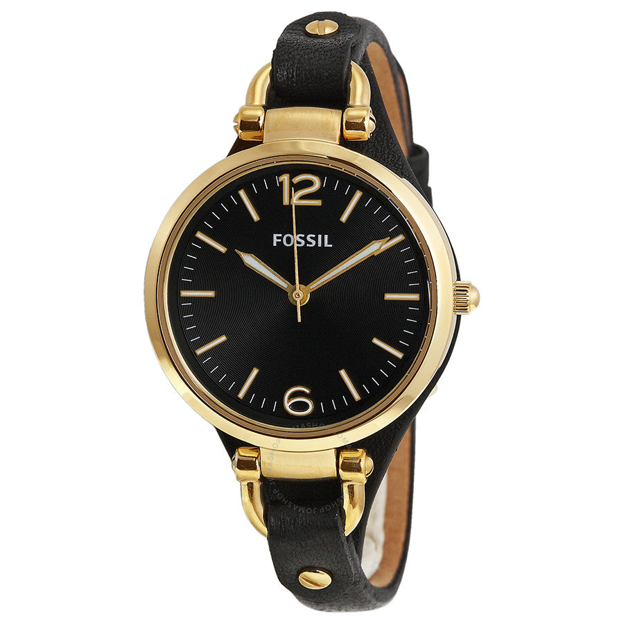 Fossil Georgia Black Dial Gold-Tone Steel Ladies Watch ES3148