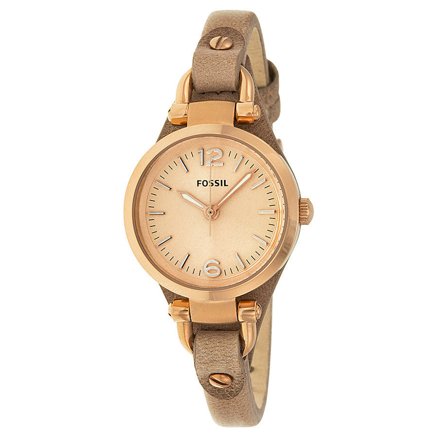 Fossil Georgia Mini Rose Dial Sand Leather Strap Ladies Watch ES3262