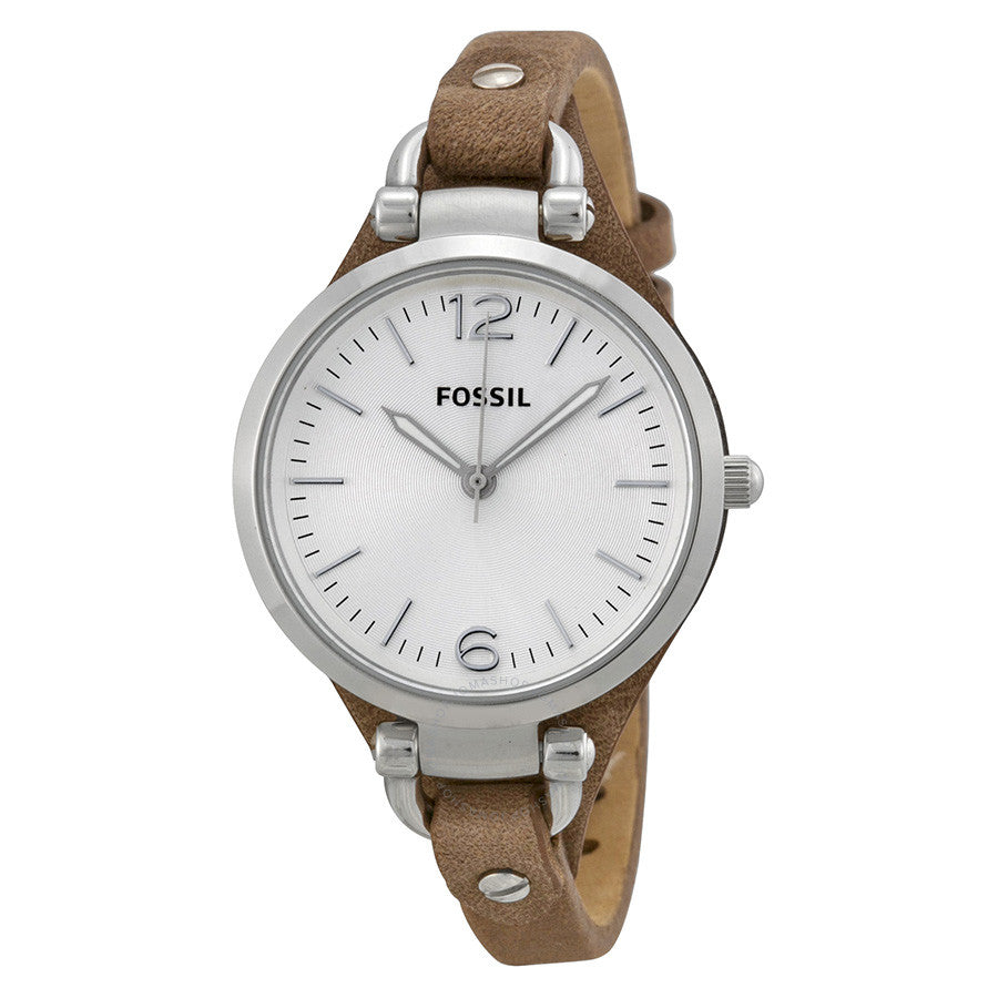 Fossil Georgia Silver Dial Tan Leather Strap Ladies Watch ES3060