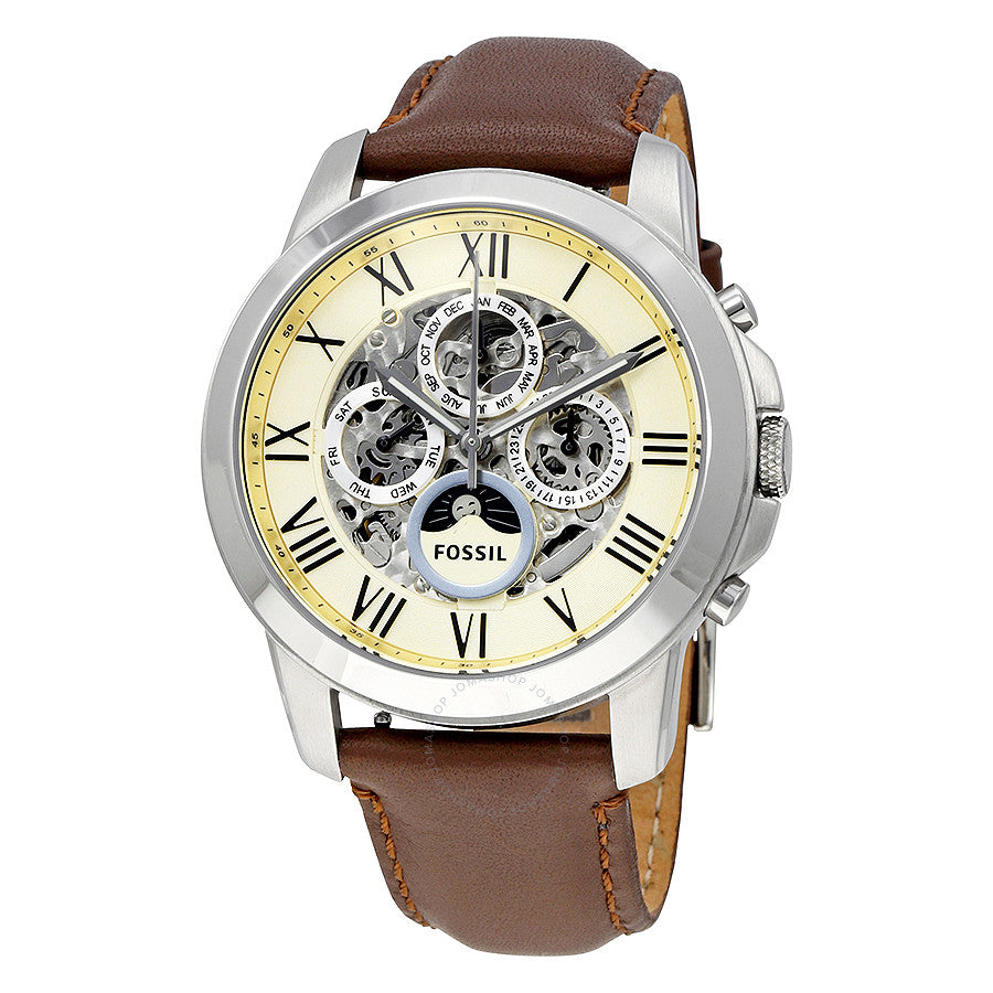 Fossil Grant White Dial Brown Leather Men's Watch ME3027