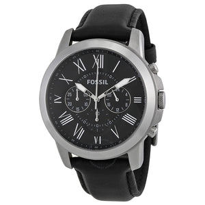Fossil Grant Black Dial Leather Strap Men's Watch FS4812