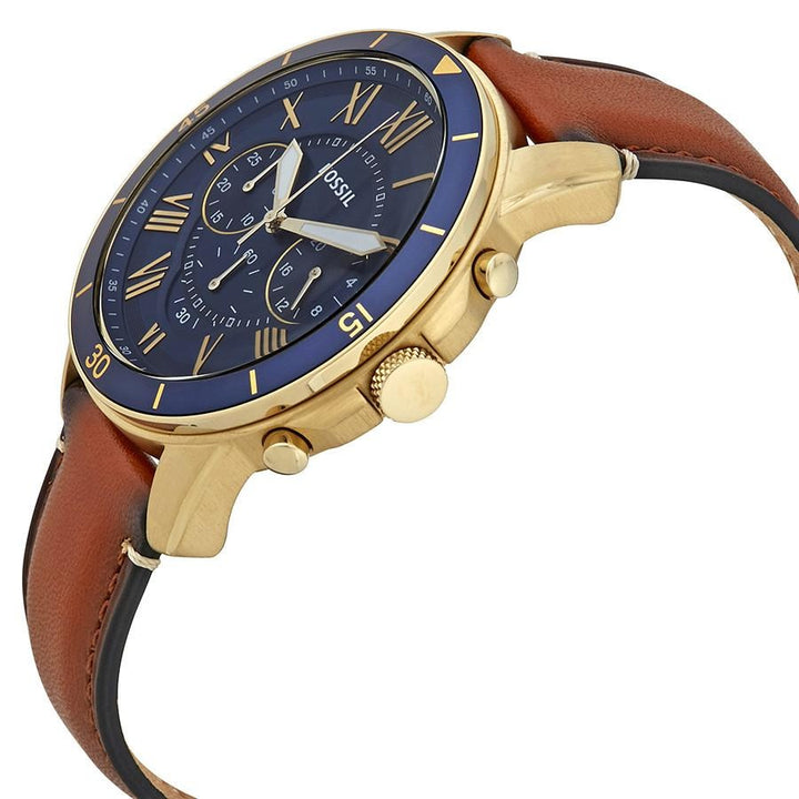 Fossil Grant Chronograph Blue Dial Leather Strap Men's Watch FS5268