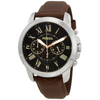 Fossil Grant Chronograph Black Dial Leather Strap Men's Watch FS4813