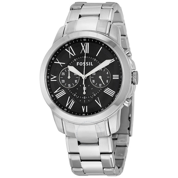 Fossil Grant Chronograph Black Dial Stainless Steel Men's Watch FS4736