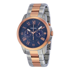Fossil Grant Chronograph Blue Dial Two-tone Men's Watch FS5024