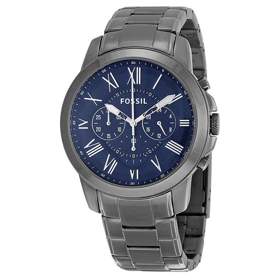 Fossil Grant Chronograph Dark Blue Dial Smoke Ion-plated Men's Watch FS4831